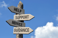 sign post with different ways to manage stress on signs pointing in different directions with the words Help, Support, Advice and Guidance written on them