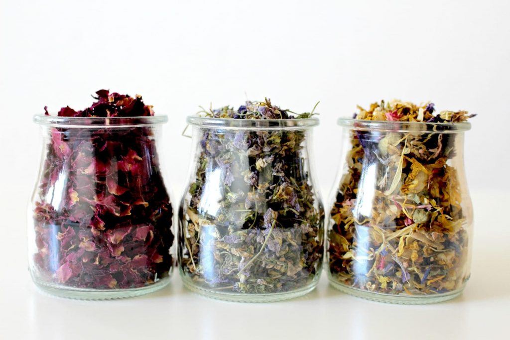 jars of herbal tea used by naturopaths
